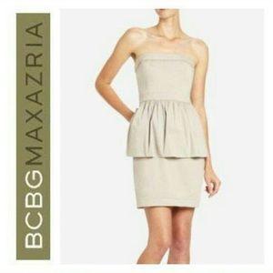 BCBG Khaki Peplum Strapless Dress